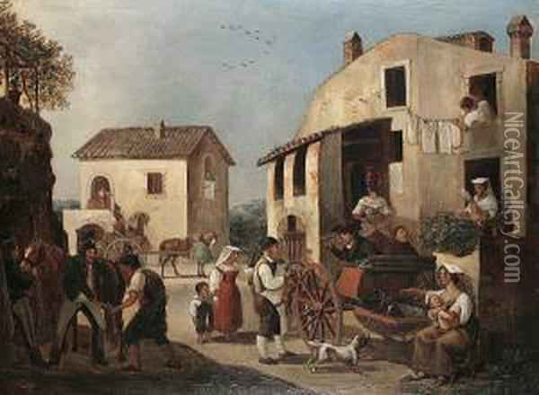A Busy Village Scene Oil Painting - Alexander Clemens Wetterling