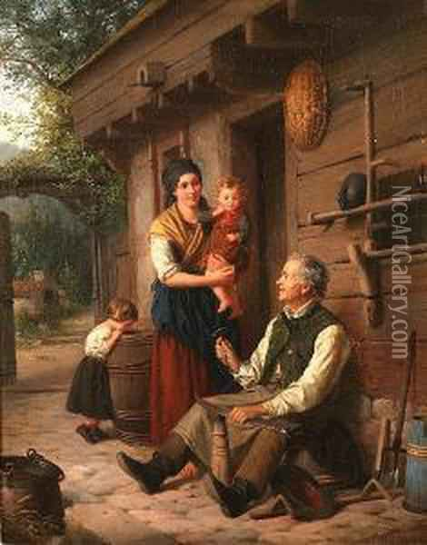 Outside The Cottage Oil Painting - Julius Weyde