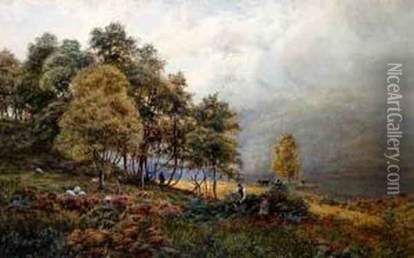 Wooded Lake Landscape With Figures By Thelakeside Oil Painting - James Whaite