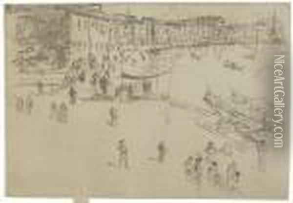 The Riva, No. 2 (kennedy 206) Oil Painting - James Abbott McNeill Whistler