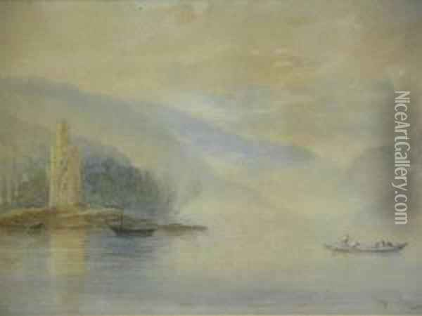 A Misty Morning With Boat Crossing The Loch Oil Painting - George Whitaker