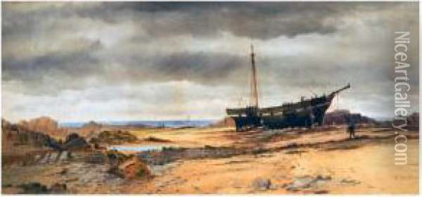 A Rocky Coastal Landscape, With Large Boat On Beach, Figures Oil Painting - George Whitaker