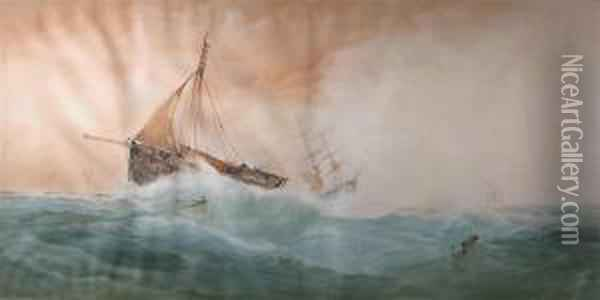 Fishing Boat In Stormy Seas Oil Painting - George Whitaker