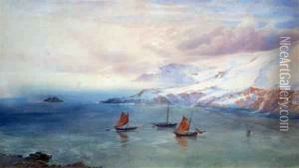 Fishing Boats At Anchor Off A Snowy Coastline Oil Painting - George Whitaker