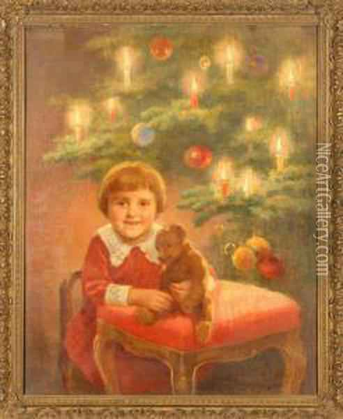 Christmas With Teddy Oil Painting - Franz Wiesenthal