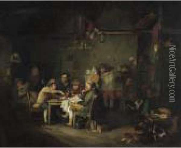The Village Politicians Oil Painting - Sir David Wilkie