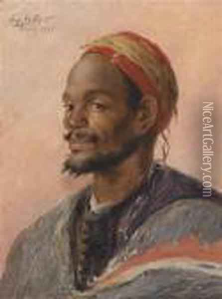 Portrait Of A Moroccan Oil Painting - Ferdinand Willaert