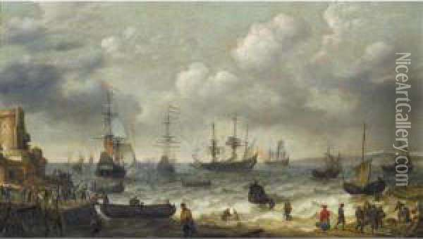 A Coastal Scene With Numerous Figures On The Shore, A Dutch Man O'war Firing Its Cannon Beyond Oil Painting - Abraham Willaerts