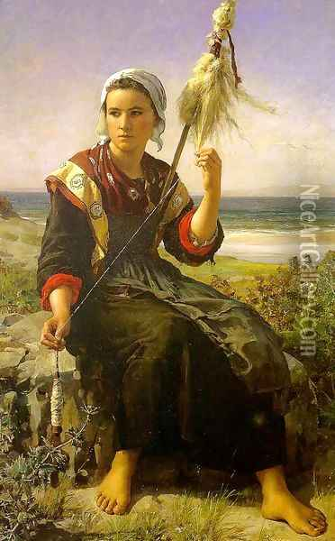 Brittany Girl 1872 Oil Painting - Jules Breton
