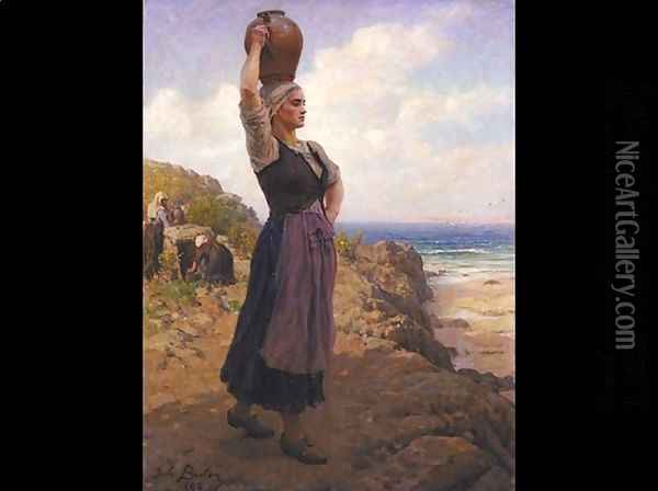 A la Fontaine (At the Fountain) Oil Painting - Jules Breton