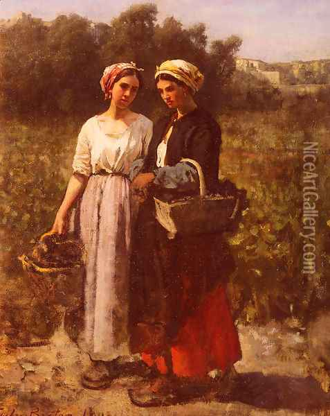 Les Vendanges A Chateau-Lagrange (The Grape Harvest at the Chateau-Lagrange) Oil Painting - Jules Breton