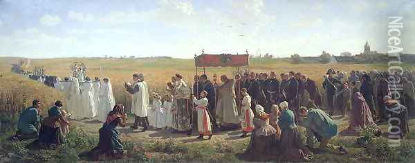 The Blessing of the Wheat in the Artois, 1857 Oil Painting - Jules Breton
