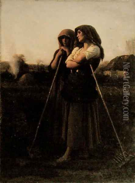 The Close of Day, 1865 Oil Painting - Jules Breton