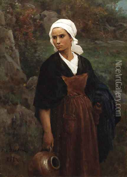 Femme portant une cruche (Woman carrying Water) Oil Painting - Jules Breton