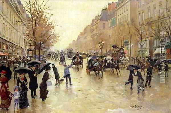 Boulevard Poissonniere in the Rain, c.1885 Oil Painting - Jean-Georges Beraud