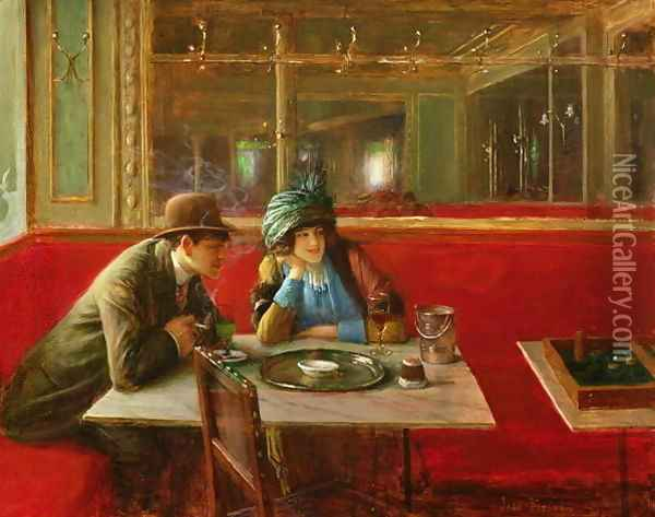 At the Cafe Oil Painting - Jean-Georges Beraud
