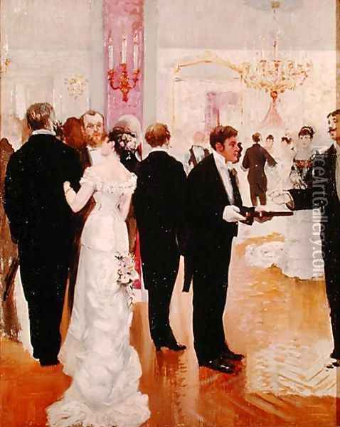 The Wedding Reception, c.1900 Oil Painting - Jean-Georges Beraud