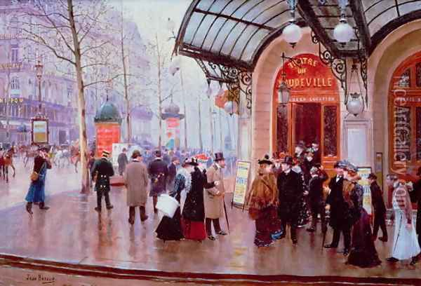 Outside the Vaudeville Theatre Paris Oil Painting - Jean-Georges Beraud