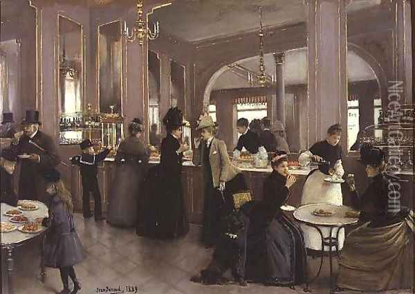 La Patisserie Gloppe, Champs Elysees, Paris 1889 Oil Painting - Jean-Georges Beraud
