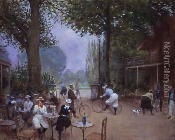 The Chalet du Cycle in the Bois de Boulogne, c.1900 Oil Painting - Jean-Georges Beraud