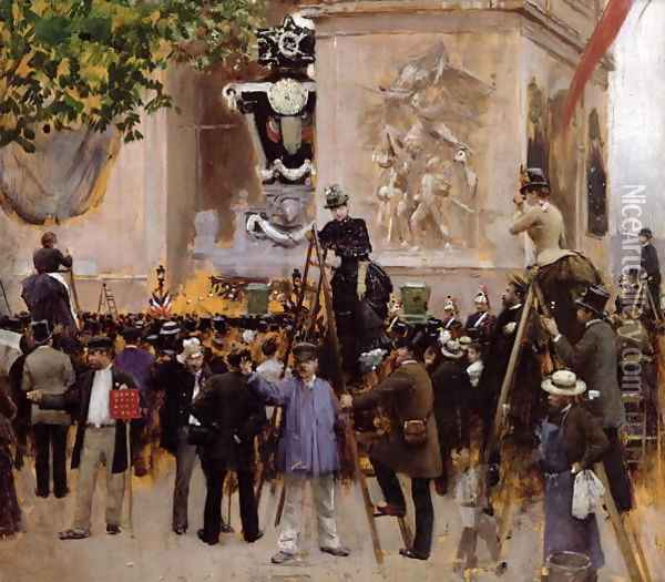 The Funeral of Victor Hugo Oil Painting - Jean-Georges Beraud