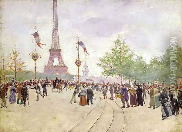 Entrance to the Exposition Universelle 1889 Oil Painting - Jean-Georges Beraud