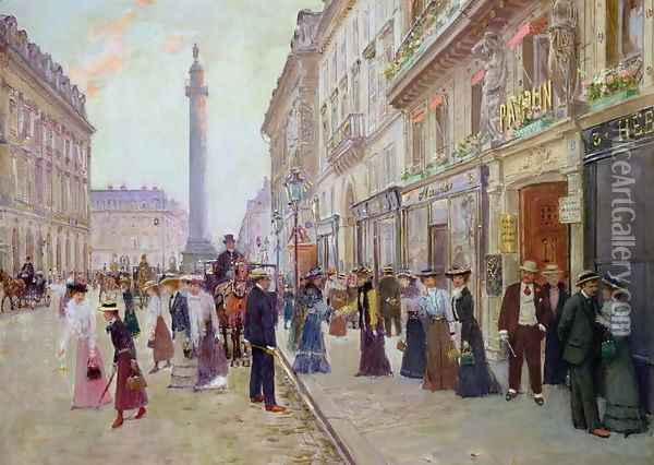 Workers leaving the Maison Paquin, in the rue de la Paix, c.1900 Oil Painting - Jean-Georges Beraud
