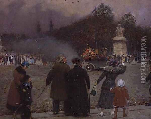 The German Flag Taken to Les Invalides, c.1914 Oil Painting - Jean-Georges Beraud