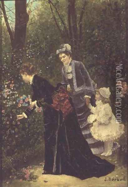 Young Women Picking Flowers, 1885 Oil Painting - Jean-Georges Beraud