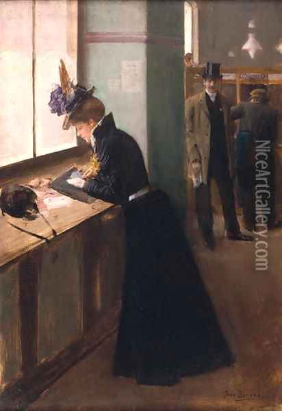 At the Telegraph Oil Painting - Jean-Georges Beraud