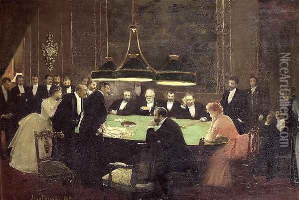 The Gaming Room at the Casino, 1889 Oil Painting - Jean-Georges Beraud