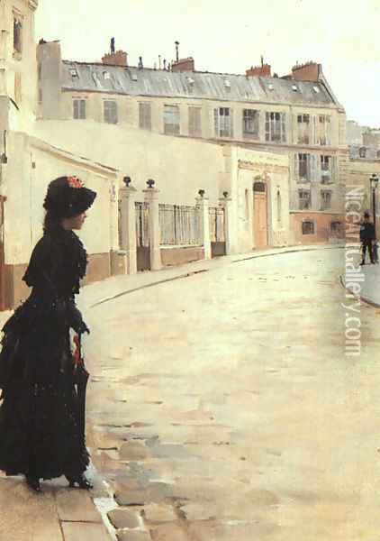 Waiting, Rue de Chateaubriand, Paris Oil Painting - Jean-Georges Beraud