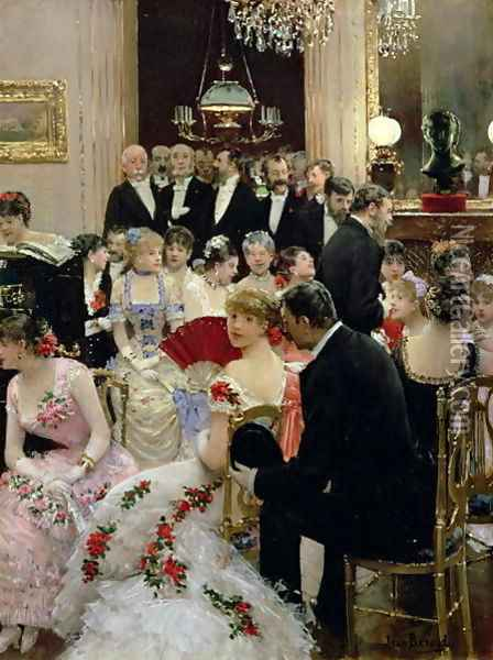 The Soiree c.1880 Oil Painting - Jean-Georges Beraud