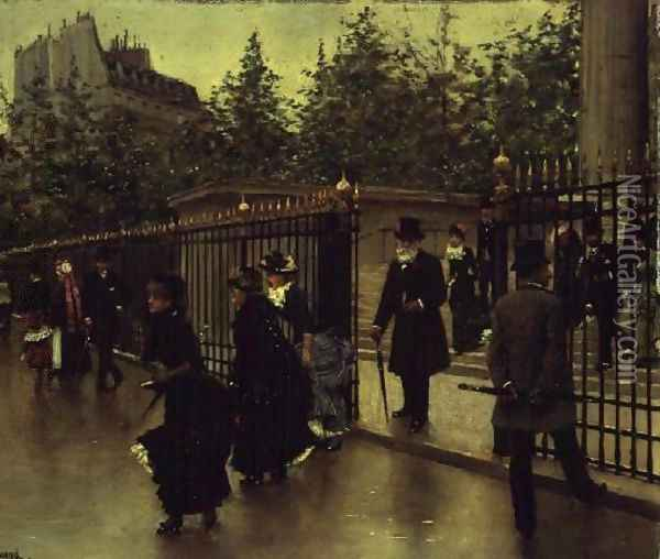 Leaving La Madeleine Oil Painting - Jean-Georges Beraud