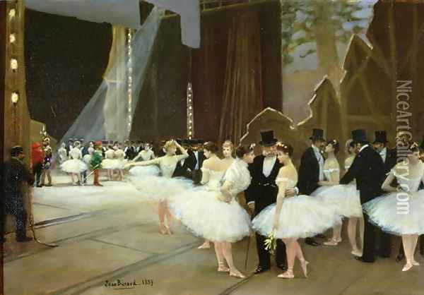 In the Wings at the Opera House 1889 Oil Painting - Jean-Georges Beraud