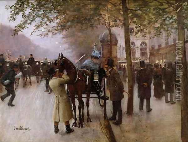 The Boulevards, Evening in Front of the Cafe Napolitain Oil Painting - Jean-Georges Beraud
