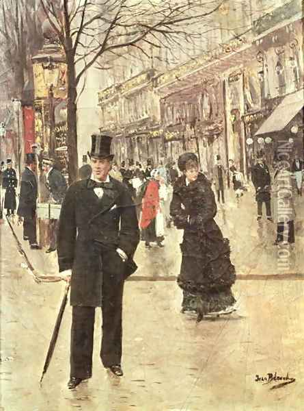 On the Boulevard Oil Painting - Jean-Georges Beraud