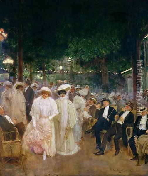 The Gardens of Paris, or The Beauties of the Night, 1905 Oil Painting - Jean-Georges Beraud