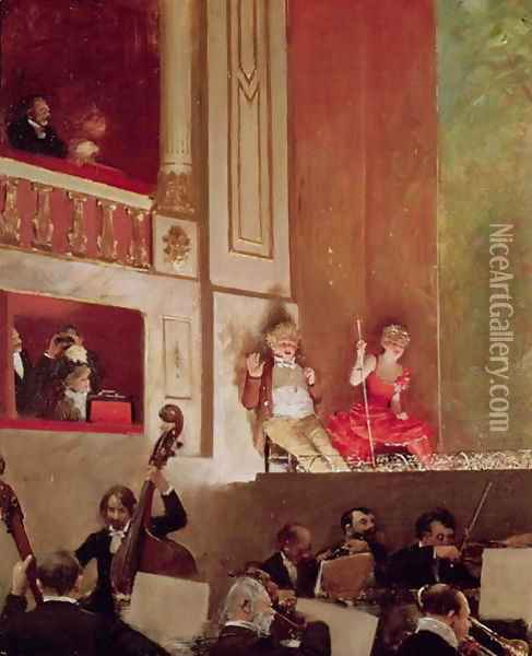 Revue at the Theatre des Varietes c.1885 Oil Painting - Jean-Georges Beraud