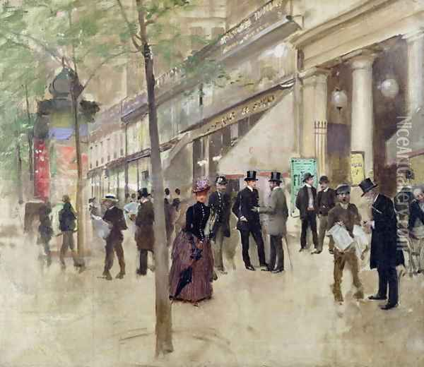 The Boulevard Montmartre and the Theatre des Varietes c.1886 Oil Painting - Jean-Georges Beraud