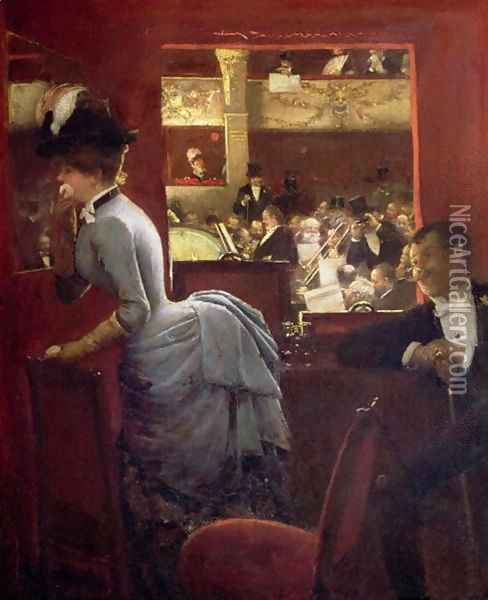 The Box by the Stalls c.1883 Oil Painting - Jean-Georges Beraud