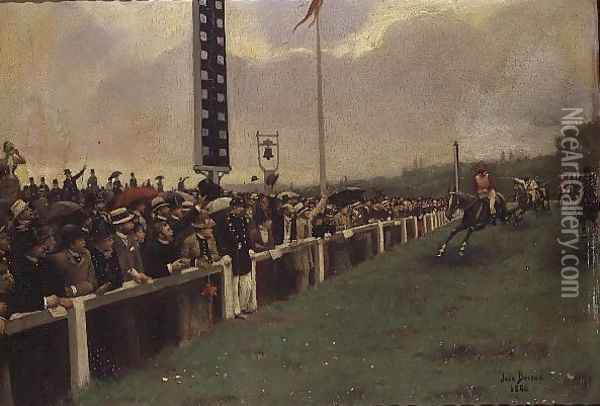 The Course at Longchamps, 1886 Oil Painting - Jean-Georges Beraud