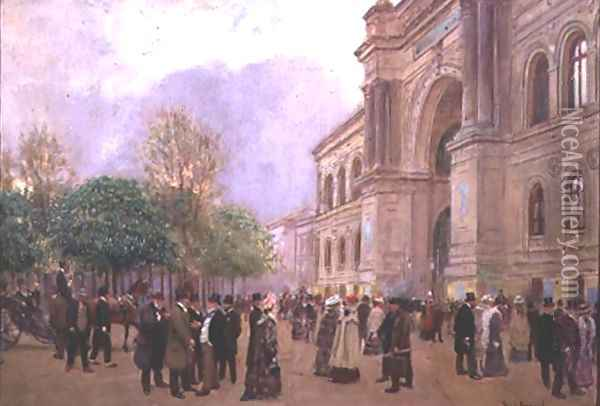 Outside the Palais de l'Industrie Oil Painting - Jean-Georges Beraud