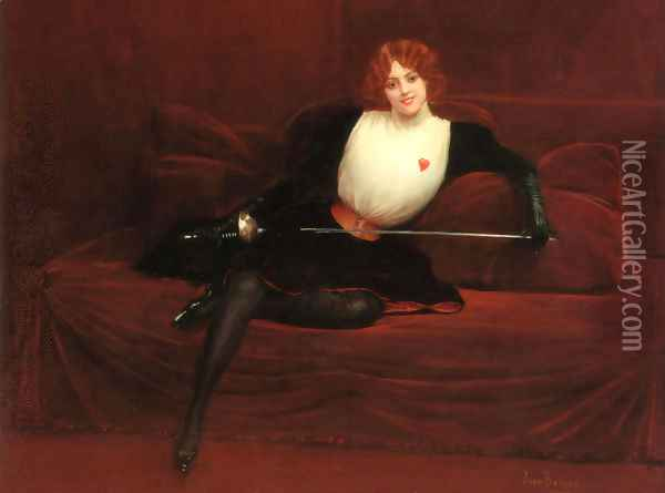 L'escrimeuse (The Swordswoman) Oil Painting - Jean-Georges Beraud