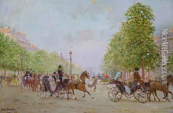 The Promenade on the Champs-Elysees Oil Painting - Jean-Georges Beraud