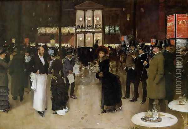 The Boulevard at Night, in front of the Theatre des Varietes, c.1883 Oil Painting - Jean-Georges Beraud