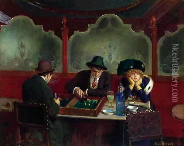 The Backgammon Players Oil Painting - Jean-Georges Beraud