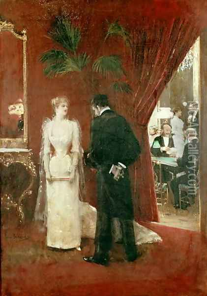 The Private Conversation, 1904 Oil Painting - Jean-Georges Beraud