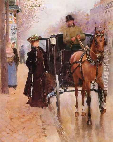 Home, Driver ! Oil Painting - Jean-Georges Beraud