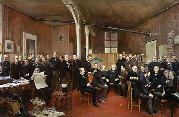 Le Journal des Debats, 1889 Oil Painting - Jean-Georges Beraud